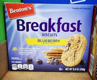 Benton's Blueberry Breakfast Biscuits sitting on an Aldi shelf in box packaging