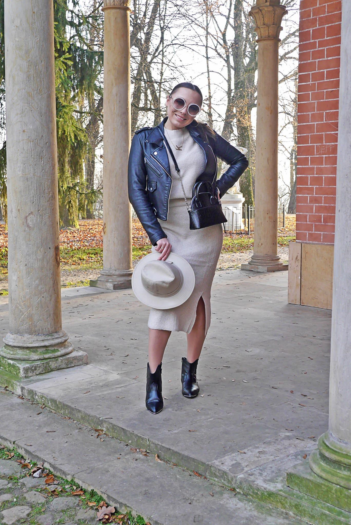 blog modowy blogerka modowa karyn puławy beżowy komplet sweterkowy bonprix spódnica sweter ramoneska czarne kowbojki torebka kuferek kapelusz okulary przeciwsłoneczneQA