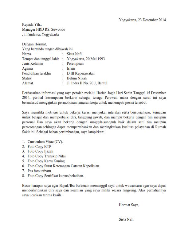 Download Contoh Surat Lamaran Kerja Perawat Melamar Kerja