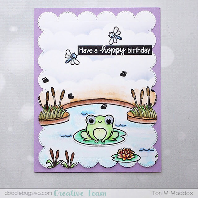 Studio Stamps: Feeling Froggy Country Scenes Customer Card by Toni Maddox