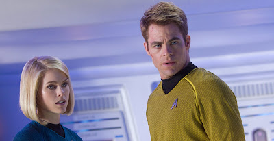 Alice Eve as Dr Carol Marcus and Chris Pine as Captain Kirk in Star Trek Into Darkness, in cinemas May 17