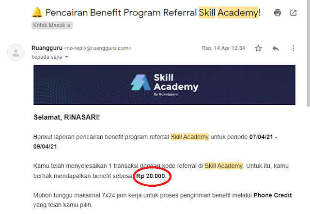 bagi yang mau dapetin bonus pulsa saat membeli pelatihan di Skill Academy, jangan lupa masukan kode referal admin dibawah ini: