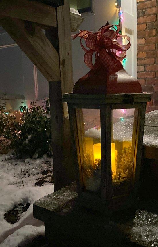 Christmas lanterns outdoors.