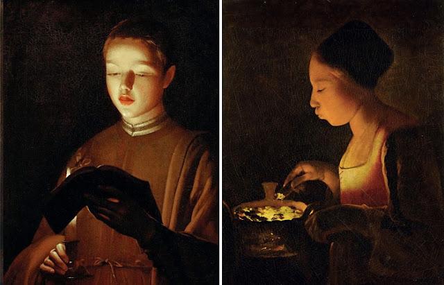 "Georges de Latour ""Jovem cantora (oficina)"" e ""A menina atiçando o fogo do braseiro"""