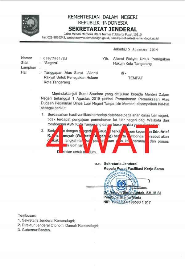 Kemendagri Segera Periksa Walikota Tangerang