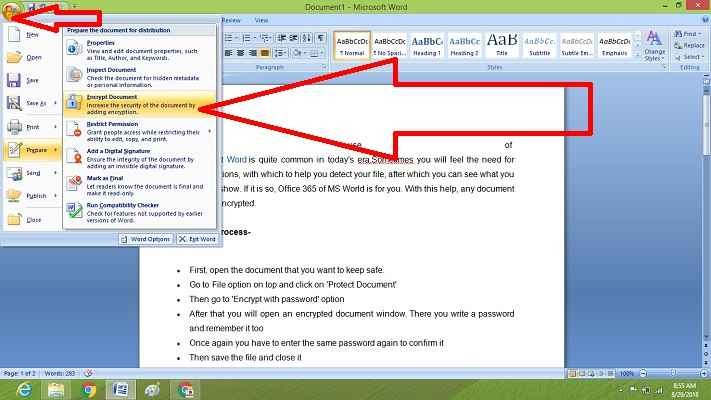 password protecting a word document