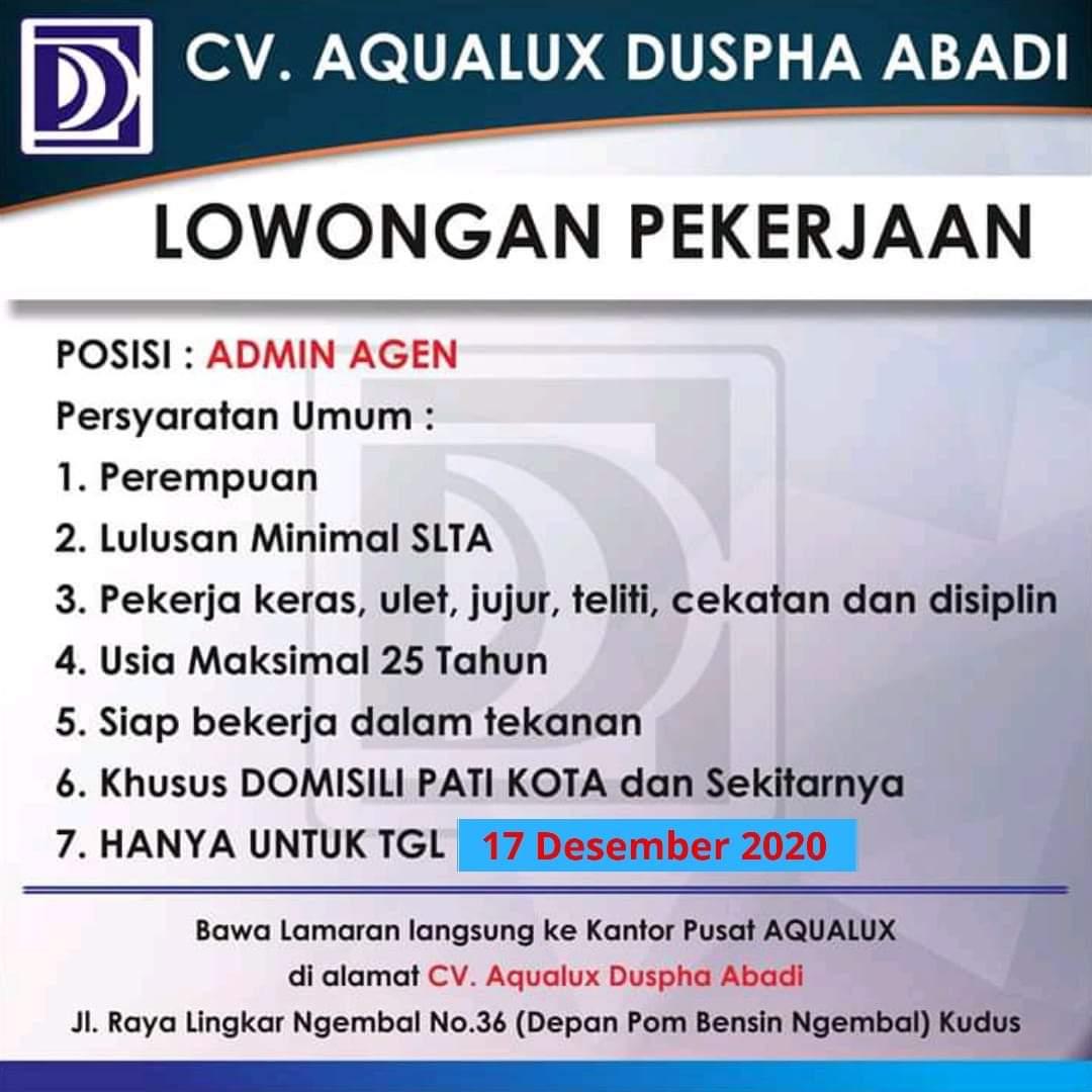 Lowongan Admin Agent Aqualux Water Purifier Pati