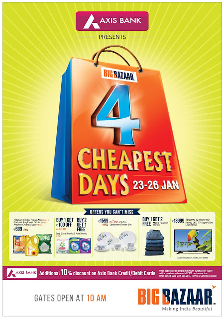 Four (4) cheap days in Big Bazar | 23rd to 26th January 2016