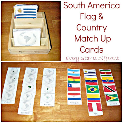 South America Flag & Country Match Up Printable