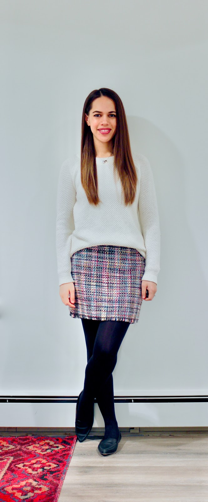 Jules in Flats - Tweed Mini Skirt with Textured Knit Sweater (Business Casual Winter Workwear on a Budget)