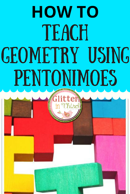 Teach elementary geometry using pentonimoes! They provide countless fun activities for kids - read more about my FAVORITE lesson plan to introduce shapes!