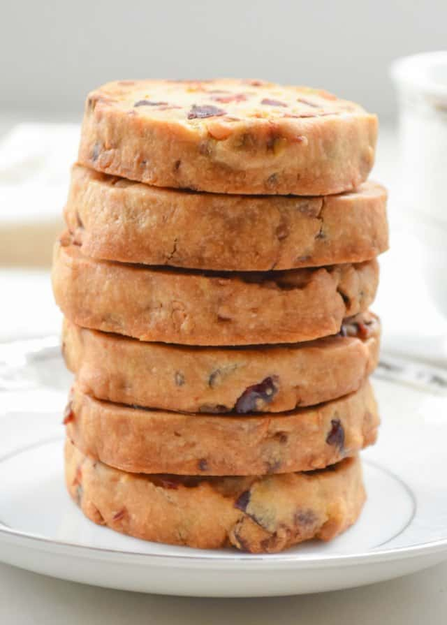 Orange Cranberry Pistachio Shortbread Cookies are a favorite sliced Christmas Cookie from Serena Bakes Simply From Scratch.