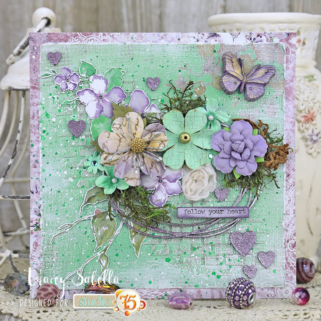 """Follow Your Heart"" Mixed Media Card by Tracey Sabella for Studio75: #traceysabella #studio75 #scrapiniec #littlebirdiecrafts #acmoore #littlebirdiecraftsflowers #agateria #finnabair #helmar  #timholtz #rangerink #lindysgang #sethapter #mixedmedia #shabbychic #mixedmediaart #mixedmediacard #mixedmediacards #shabbychiccard #shabbychiccards #diycard #diycards #handcraftedcard #handcraftedcards #diycrafts  #handmadecard #handmadecards #chipboard"