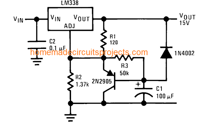slow power ON using LM338 IC
