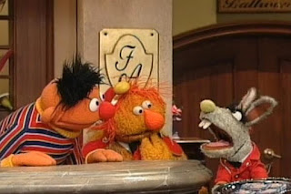 Ernie ding the Dinger five times. Benny brings five bars exclusive the Furry Arms brand soap. Sesame Street 123 Count with Me