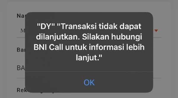 """BNI Mobile Banking """"DY"""" Transaksi Tidak Bisa Dilanjutkan"""