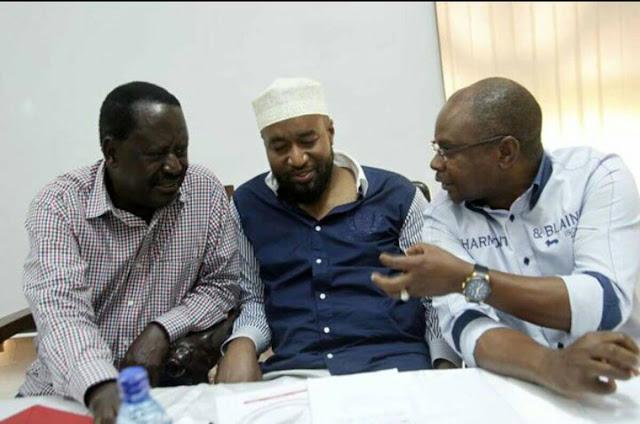 Amason Kingi, Raila Odinga and Hassan Joho Photo