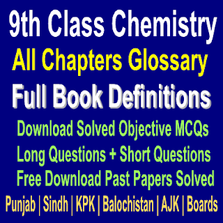 MCQs Question Answers and Short Definitons Chemistry 9th Class Chapter Wise Notes Download In PDF