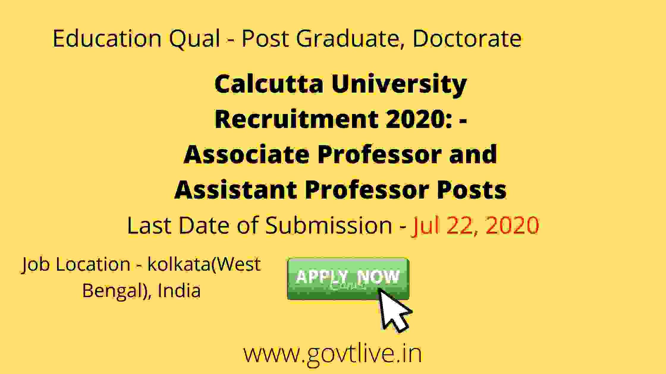 Calcutta University Recruitment 2020: - Associate Professor and Assistant Professor Posts