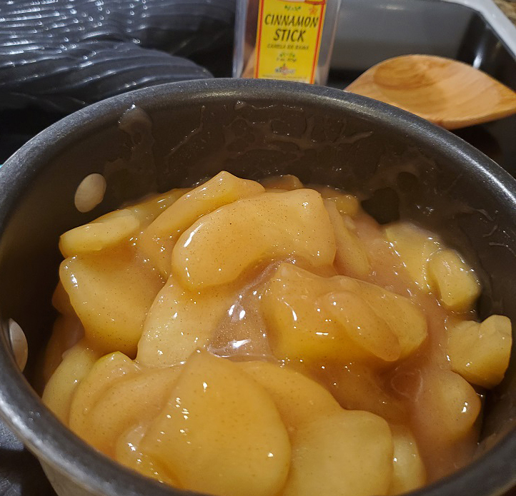 this is the stovetop saucepan simmering country style apples