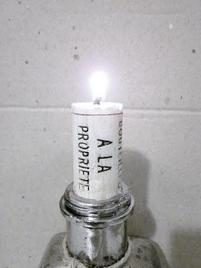 Repurposed Mercury Glass Bottle with French Candle.