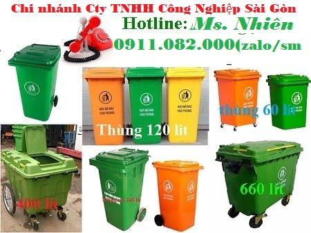 Chuyên cung cấp thùng rác cho các đại lý giá sỉ- Thùng rác 120L 240L giá rẻ tại cà mau- lh 091108200