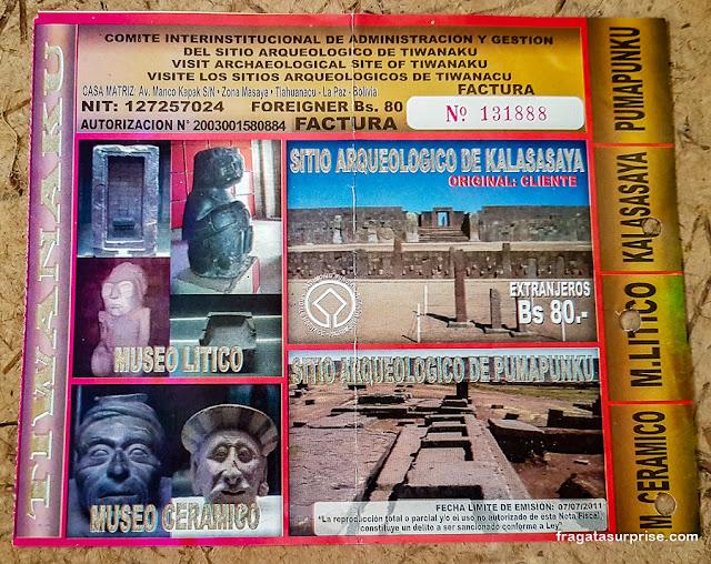 Ingresso para o sítio arqueológico de Tiwanaku