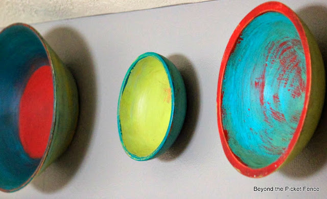 wood bowls upcycled with colorful paint