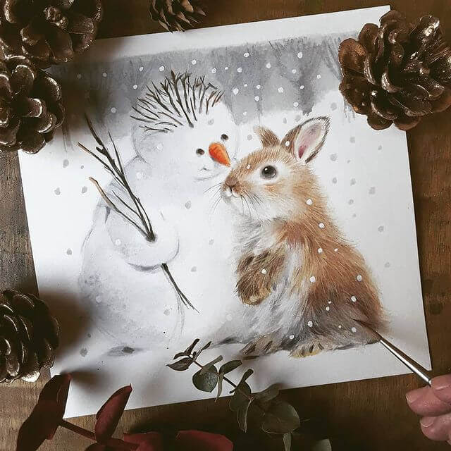 11-Rabbit-and-snowman-Anna-Llorens-www-designstack-co
