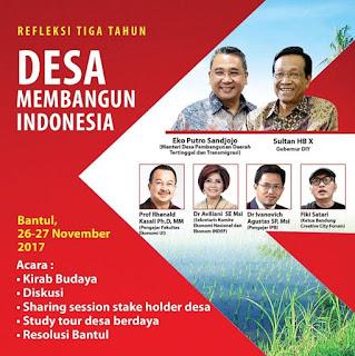 Ribuan kepala desa dari seluruh Indonesia bakal melakukan refleksi sekaligus menyusun resolusi agar implementasi UU Desa benar-benar mampu mewujudkan kedaulatan dan kesejahteraan kawasan perdesaan di Indonesia.