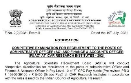ASRB Recruitment 2021 | AO and F&AO