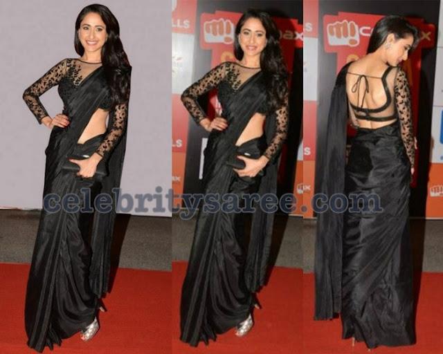 Pragya Jaiswal Black Designer Saree