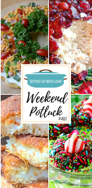 Weekend Potluck featured recipes include Cinnamon Cream Cheese Bars, Christmas Crescent Appetizer Wreath, Chocolate Candy Kiss Cookies, Christmas Cranberry Cheese Ball, and so much more.