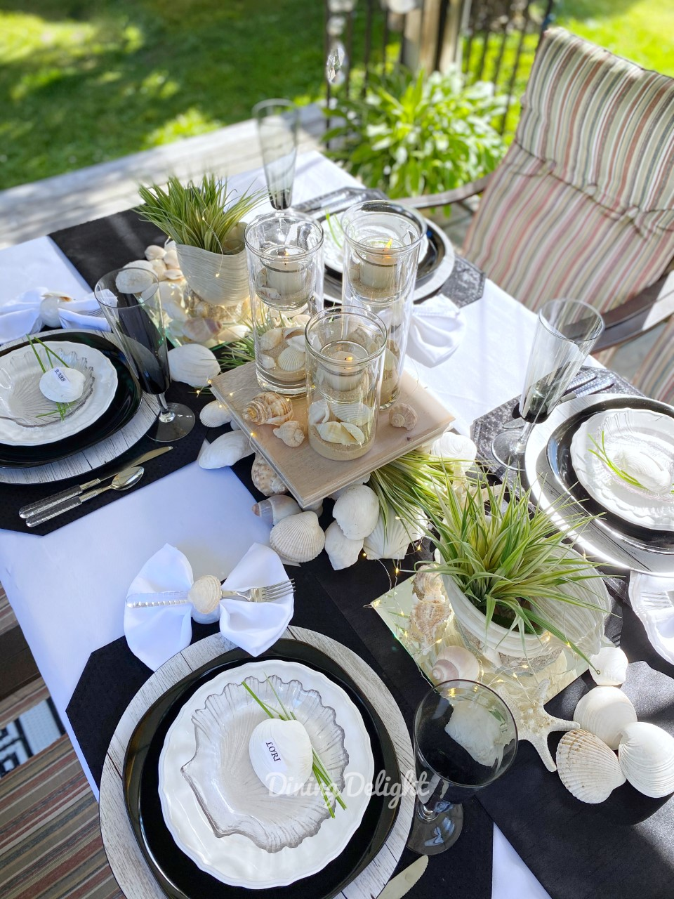 Coastal Tablescape in Black & White