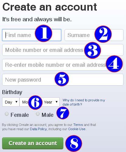 facebook create
