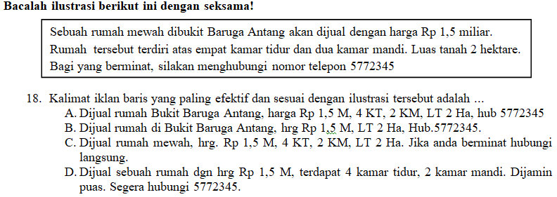 Kisi Kisi Soal Dan Kunci Jawaban Pas Bahasa Indonesia Smp Kelas 8