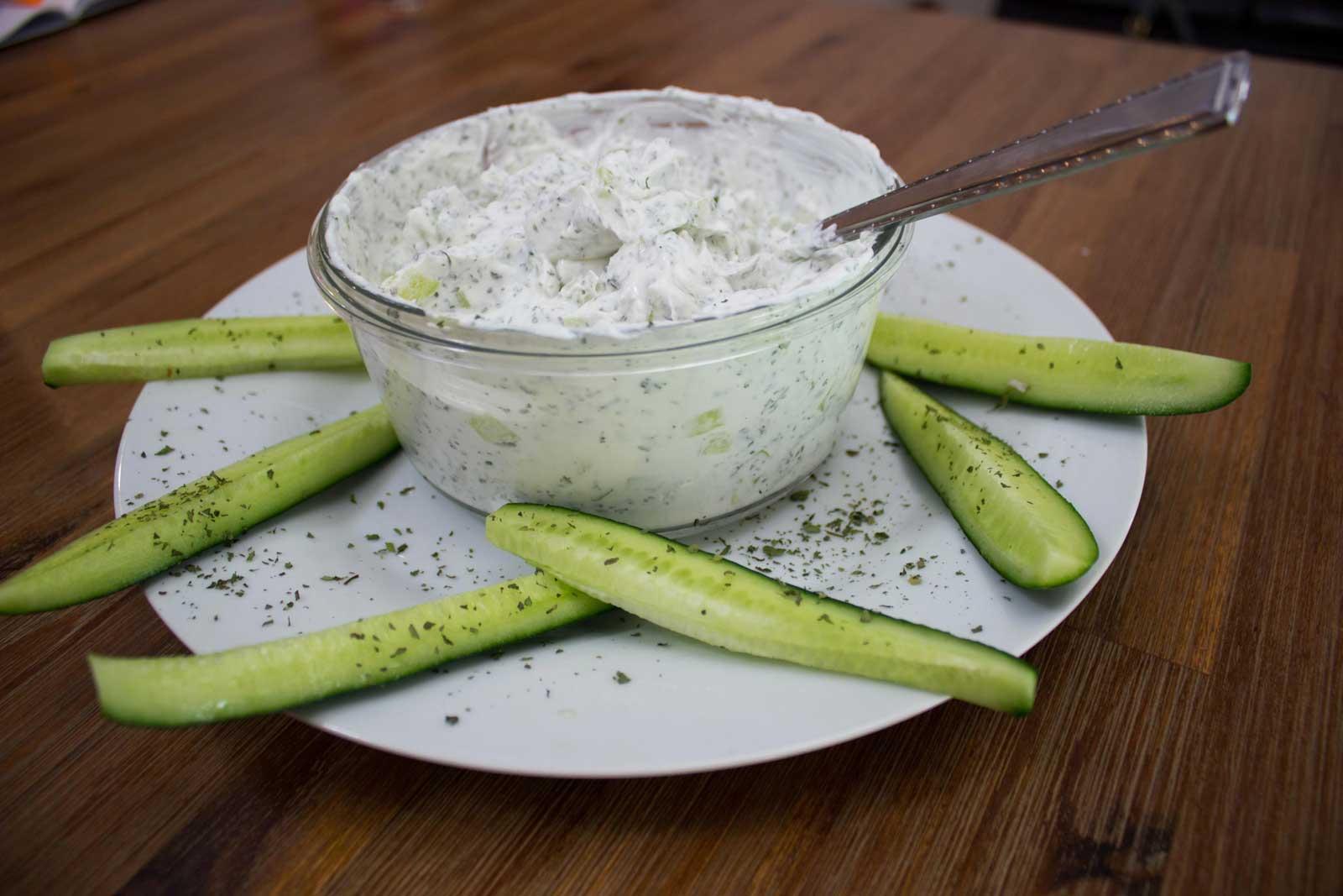 Concombre au yaourt et menthe