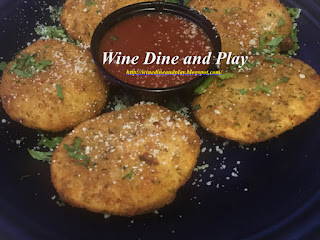 The toasted ravioli appetizer was stuffed with ricotta cheese deep-fried and topped with parmesan and marinara. Served at the Miceli's restaurant in Matlacha, Florida