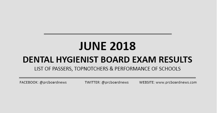 OFFICIAL RESULTS: June 2018 Dental Hygienist board exam