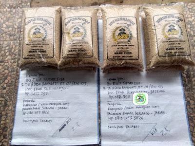 Benih padi yang dibeli  EUIS SUTARSIH Sukoharjo, Jateng.  (Sebelum packing karung).