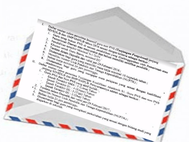 Surat Edaran Kriteria Calon Penerima Aneka Tunjangan