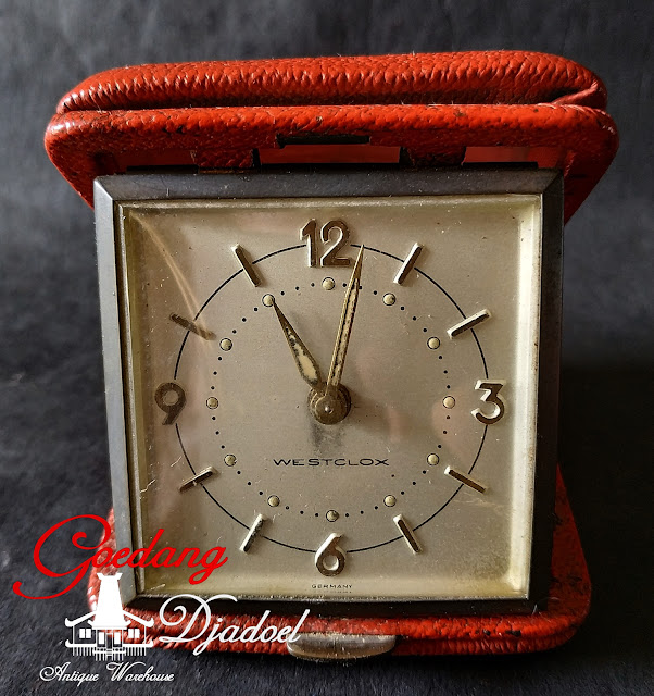 German Travel Alarm Clock by Westclox In Red Leather Case