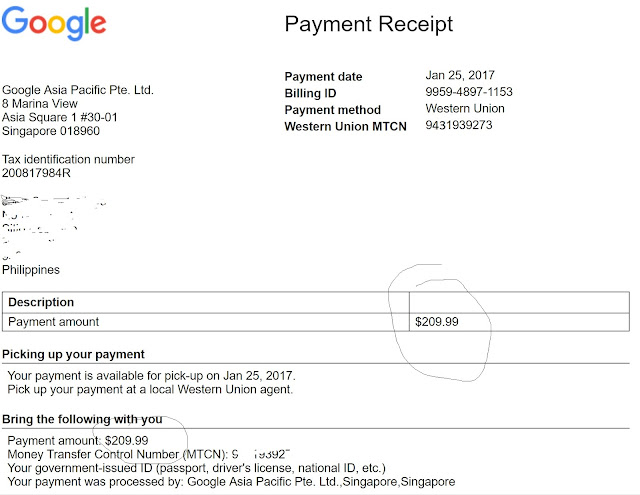 Adsense Successful Payout (proof) February 21 2017 Make Money - proof of payment receipt