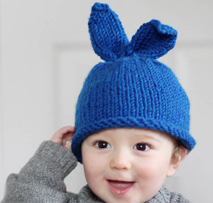 Baby Bunny Hat Knitting Pattern : Baby Bunny Rabbit Hat Knitting Pattern - Gina Michele