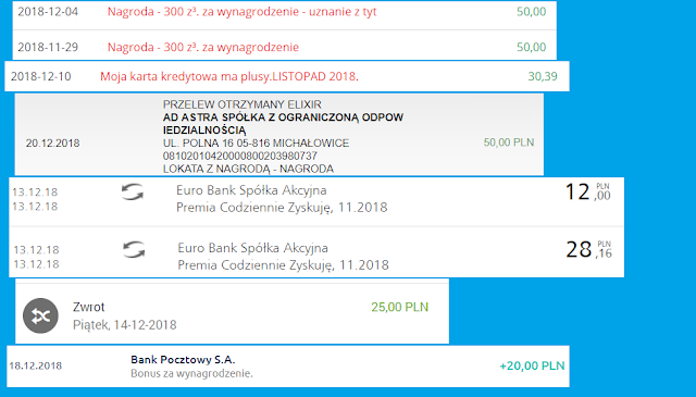 Moje zarabianie na bankach - podsumowanie listopada 2018 r.