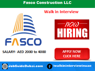Fasco Construction LLC career for light vehicle driver jobs in Dubai UAE