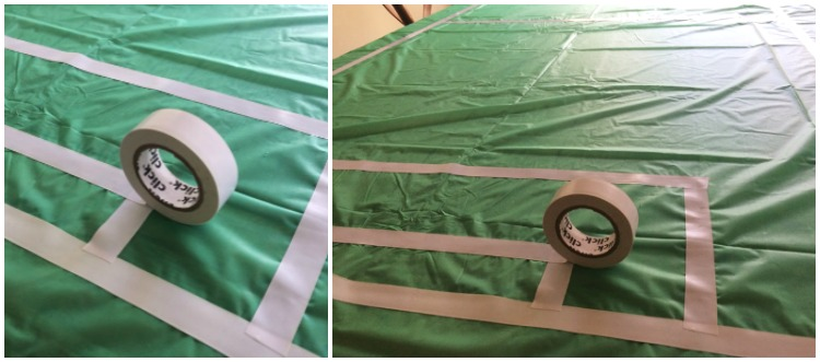 Easy soccer field table cover made with white electrical tape