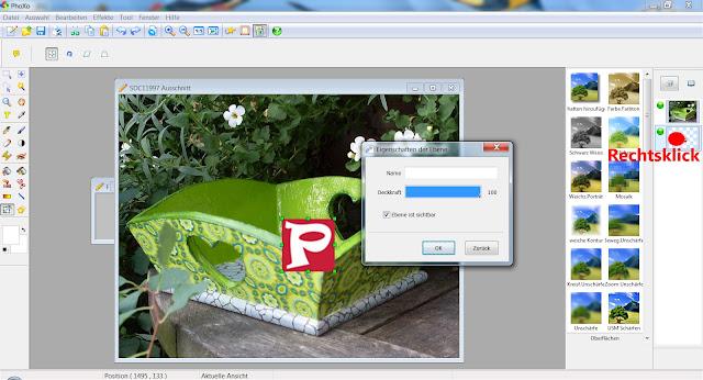 """Screenshot PhoXo mit Fenster """"Eigenschaften der Ebene"""""""