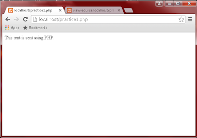 Result on web browser of sending text using PHP