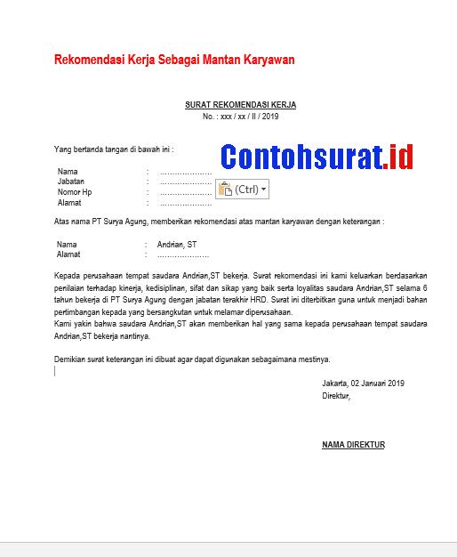 Contoh Surat Rekomendasi Kerja Sebagai Mantan Karyawan